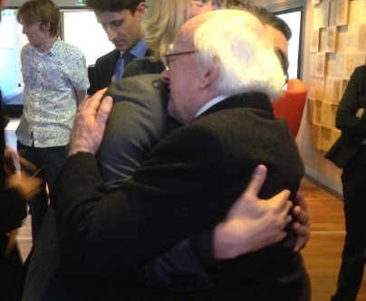 Hugging Michael D. Higgins the President of Ireland