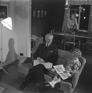 'The living room in a family house looking through into the dining room' by Frank Austin and Neville Ward for the 1949 Ideal Home Exhibition, Design Council Archive, University of Brighton.